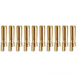 Gold connector | Ø4,0mm | slotted spring | solder bucket half open | 10 plugs