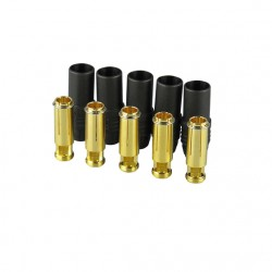 Gold connector | AS150 | Ø7,0mm | 5 sockets | black housing