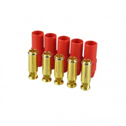 Gold connector | AS150 | Ø7,0mm | 5 sockets | red housing