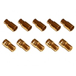 Gold connector 6mm 5 machos y 5 hembras